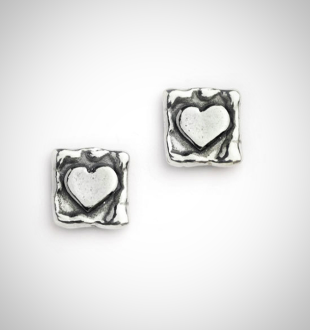 Square Silver Stud Earrings