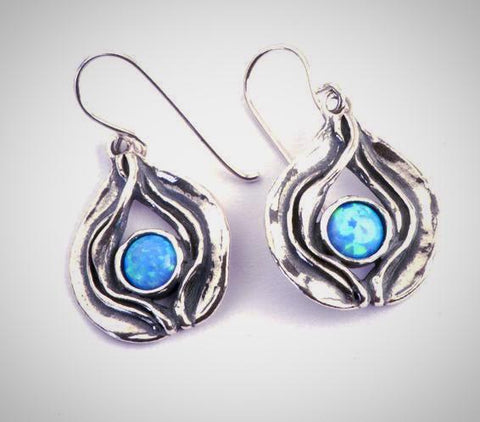 Opal Teardrop Hook Earrings