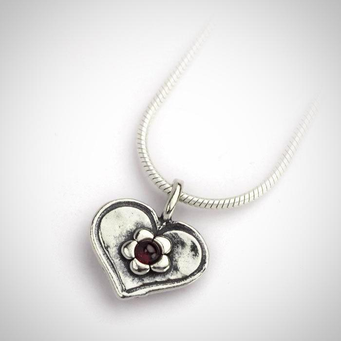 Small Heart Pendant with Garnet