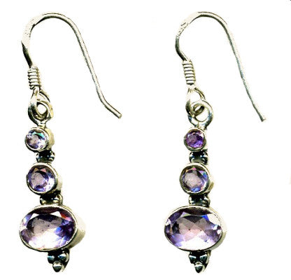 Amethyst & Silver Hook Earrings (1)