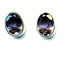 Amethyst & Silver Stud Earrings (Oval)