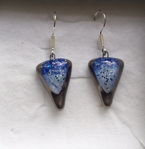Blue-White Celtic Glitter Earrings