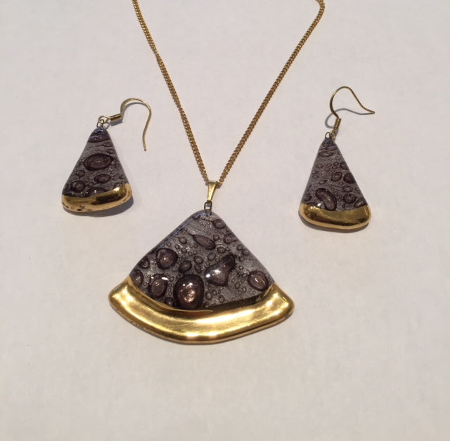 circle sector Jewellery set handmade bubble brown with platinum necklace and earrings