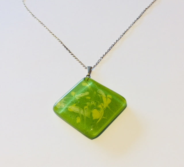 Green-Yellow Painted Pendant (A12)
