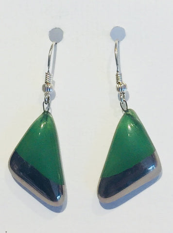 Green Triangle Earrings 2