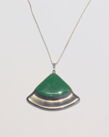 Green Platinum Circle Sector Pendant