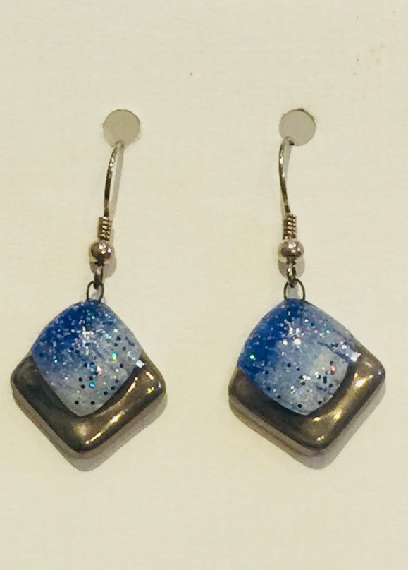 Blue Square Glitter Earrings