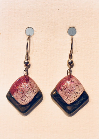 Violet-White Square Glitter Earrings