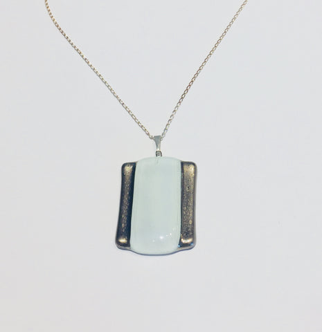 White Platinum Rectangle Pendant 1