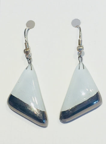 White Triangle Earrings 2