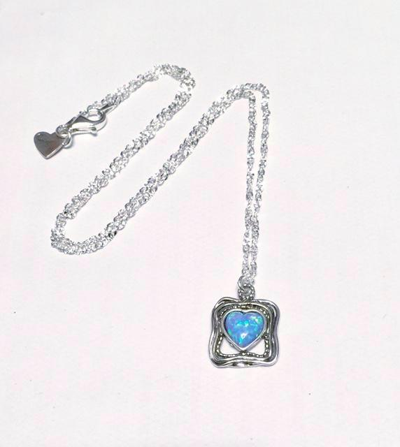 Square Pendant with Opal Heart