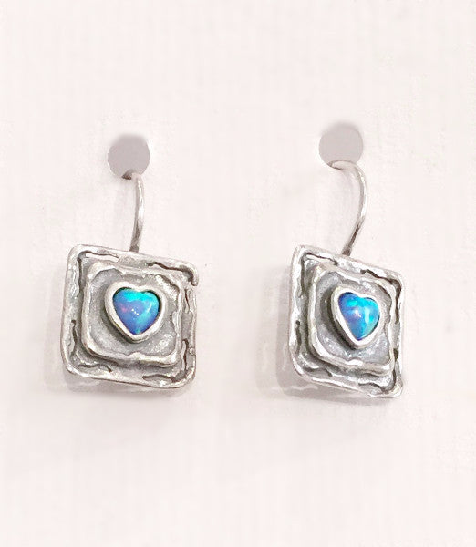 Opal Heart Square Hook Earrings