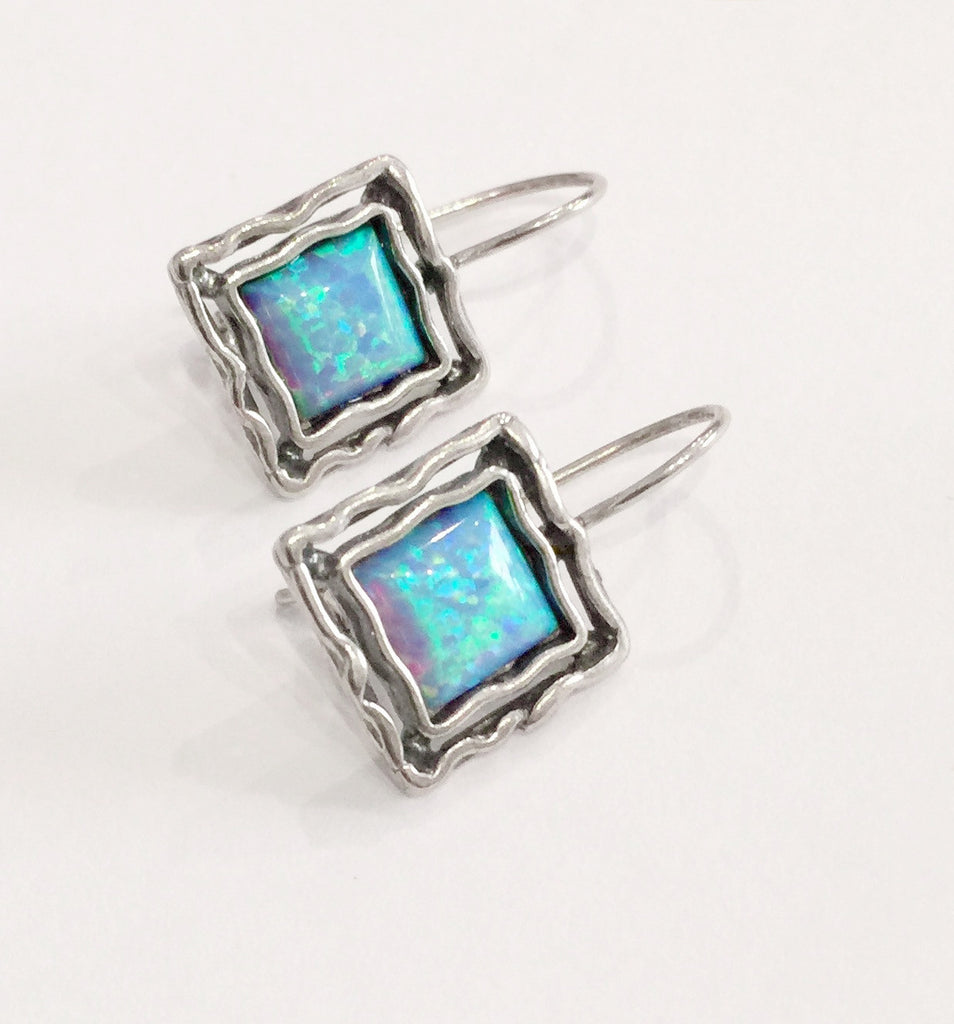 Opal Double Square Hook Earrings