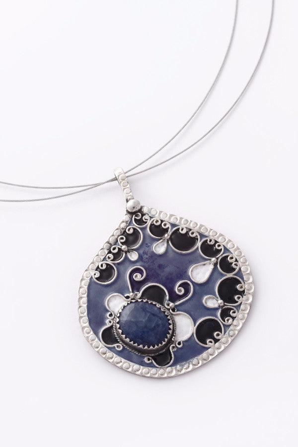Enamel and Silver Pendant 1