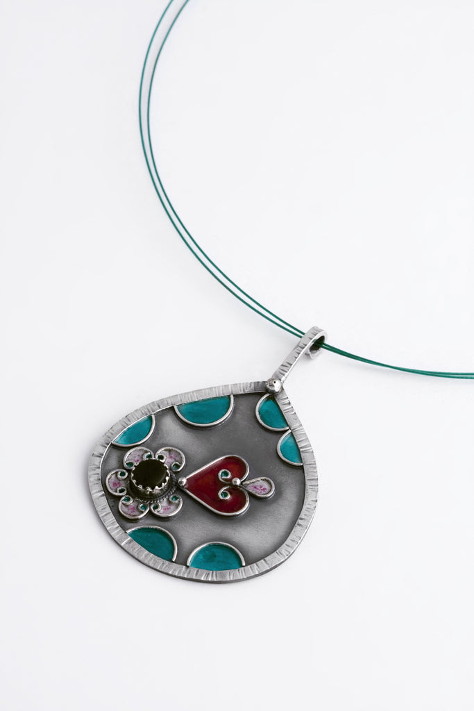 Enamel and Silver Pendant 2
