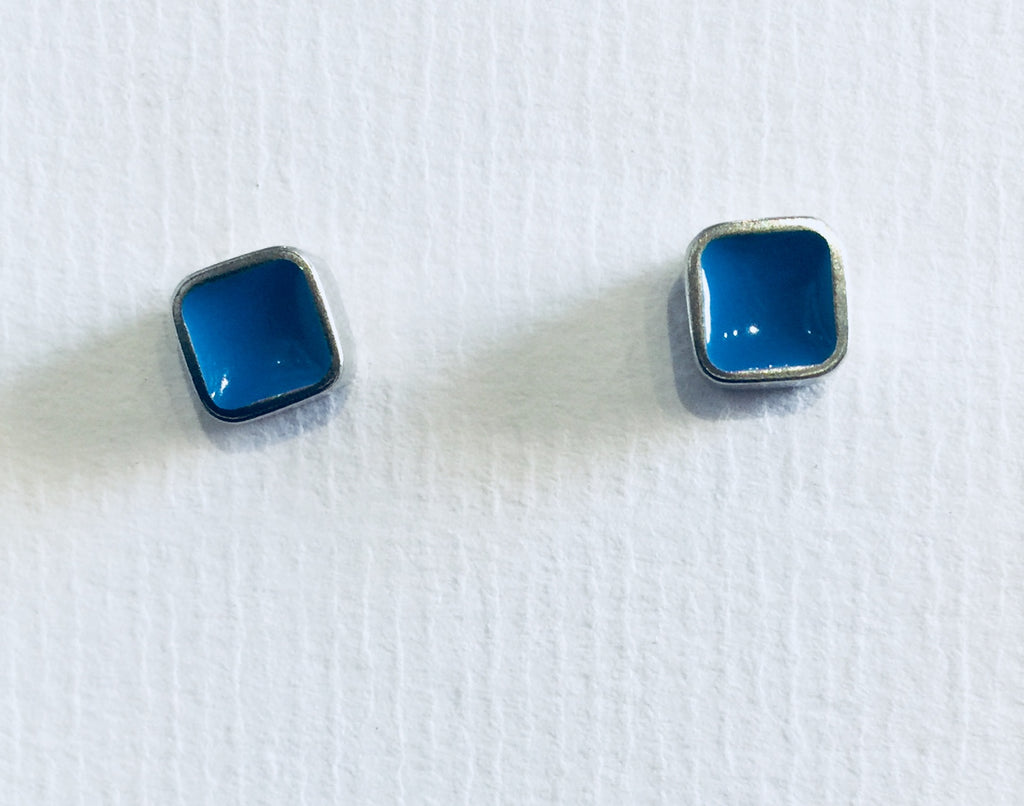 Blue Square Block Studs 2