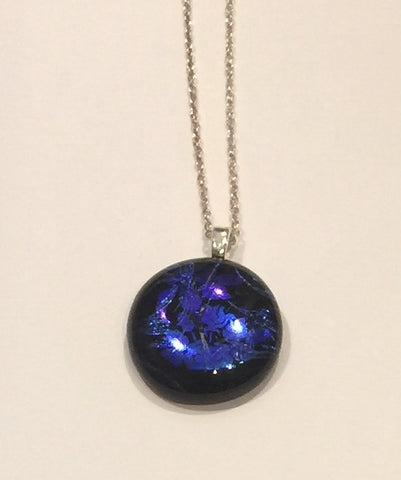 Blue Flowers on Black Pendant (small)