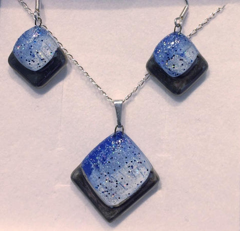 Blue-White Platinum Square Glitter Pendant & Earrings Set
