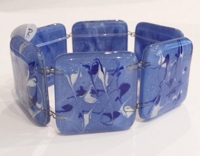 Painted Square Bracelet (Blue & White)