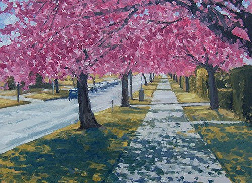 Cherry Blossoms, Bournville Lane (card)