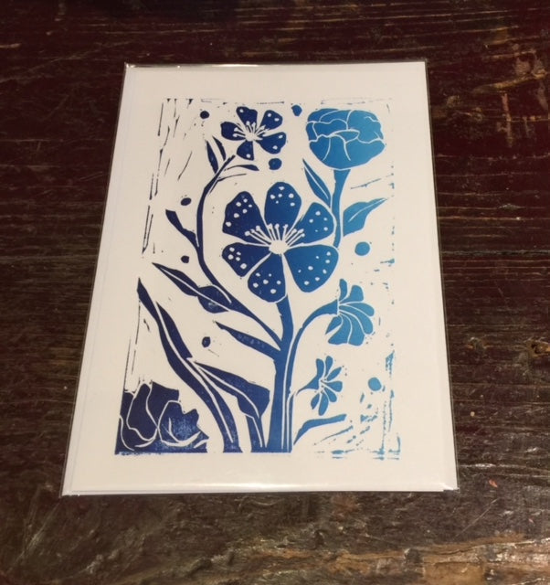 Multi Flowers Card (Blue)