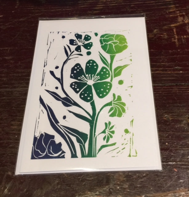 Multi Flowers Card (Green)