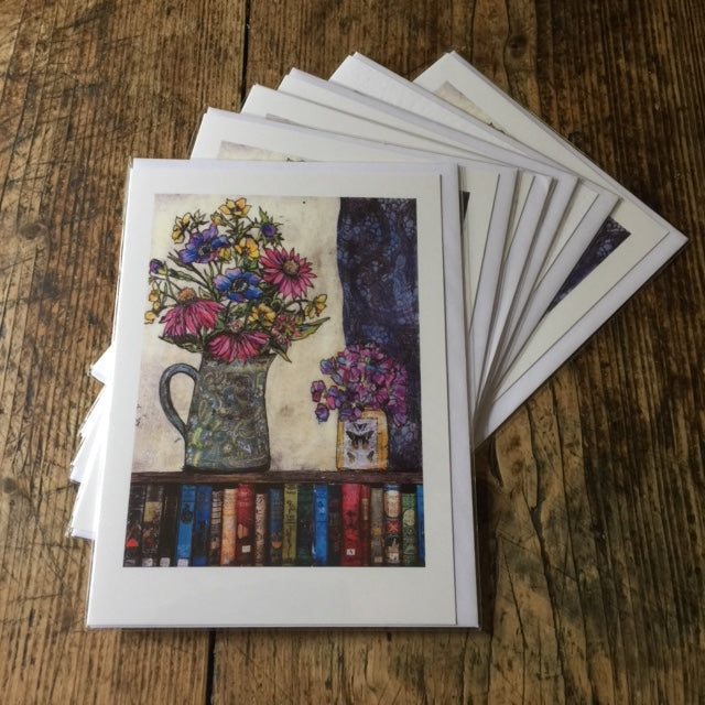 Books and Flowers (card)