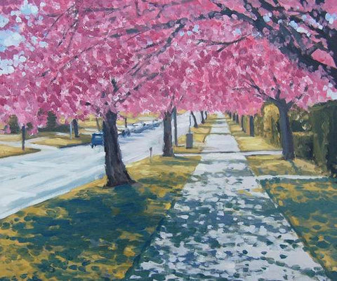 Cherry Blossoms, Bournville Lane (Giclee Print) 9/150