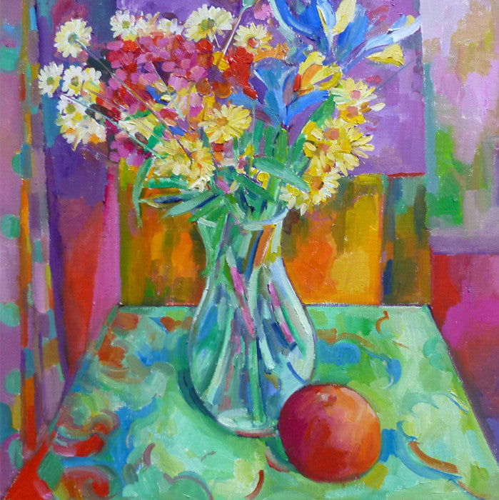 Still Life with Cut Flowers and Apple
