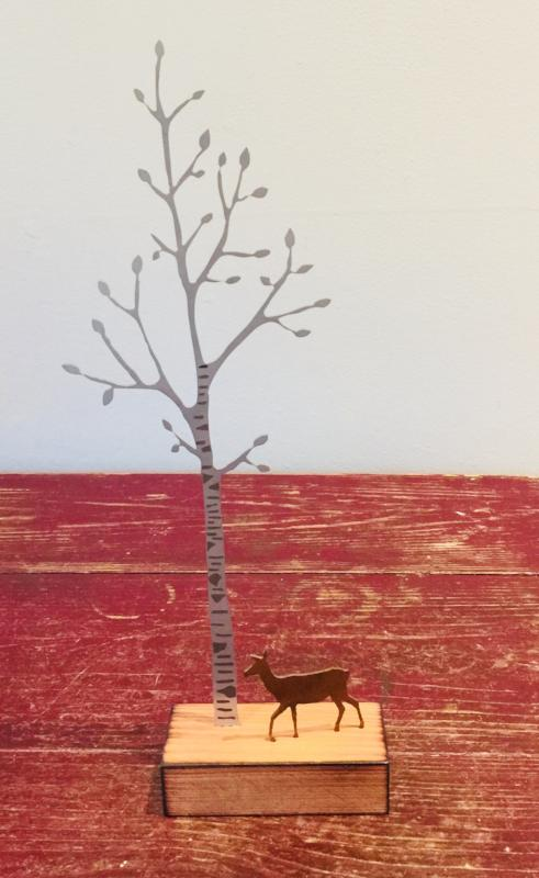 Silver Birch with Deer