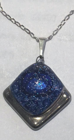 Blue Platinum Square Drop Pendant