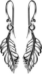 Silver Feather Design Earrings