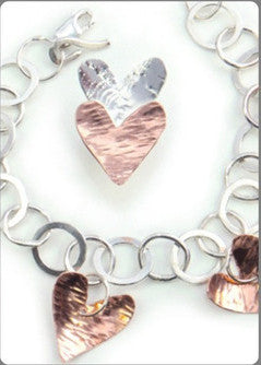 Silver with Copper Hearts Bracelet