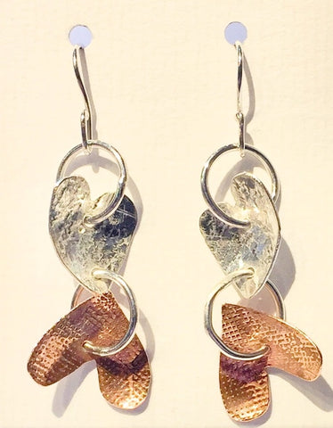 Silver & Copper Hearts Earrings