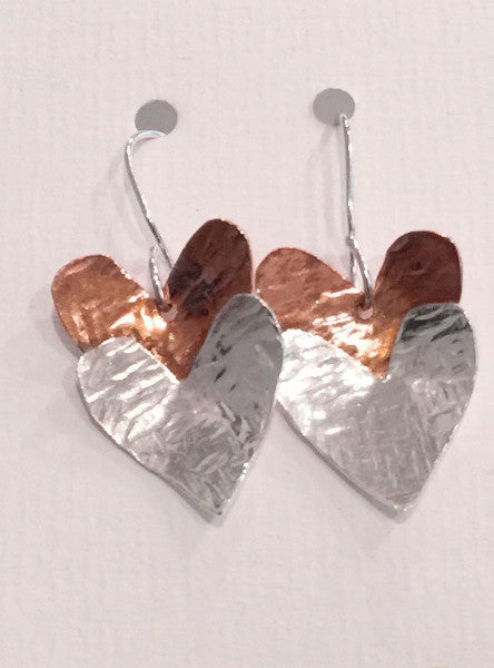 Silver & Copper Hearts Drop Earrings