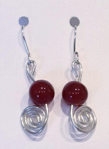 Red Carnelian Silver Swirl Earrings