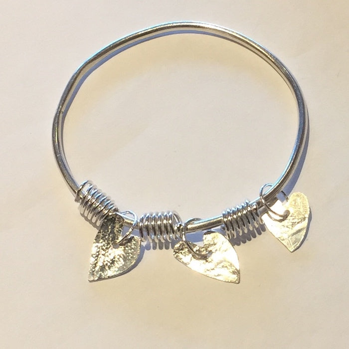 Silver Bangle with Hearts