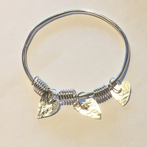 Silver Bangle with Hearts (FH20)