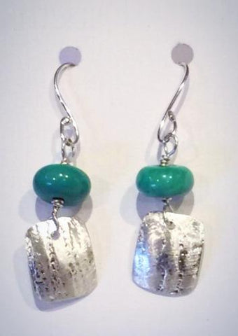 Turquoise Silver Rectangle Earrings