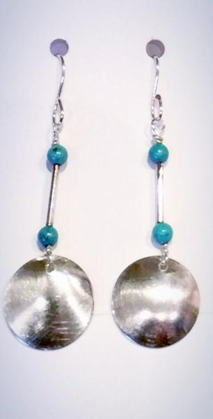 Turquoise Silver Circle Earrings