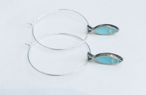 Fish Hoop Earrings (Turquoise)