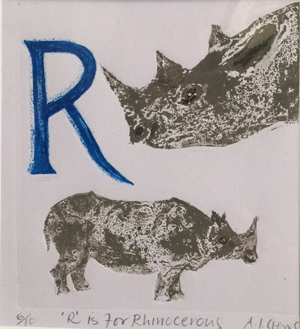 R is for Rhinocerous (blue)