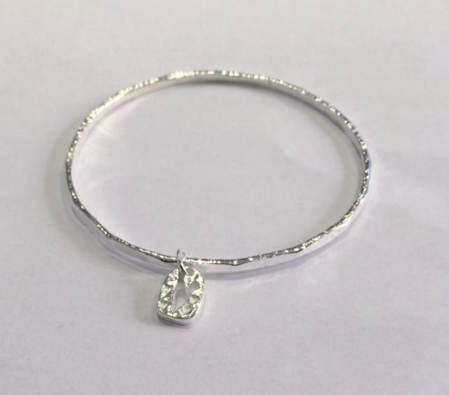 Silver Bangle with heart