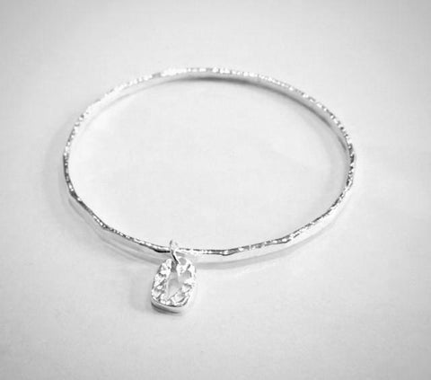 Hammered Silver Bangle with heart
