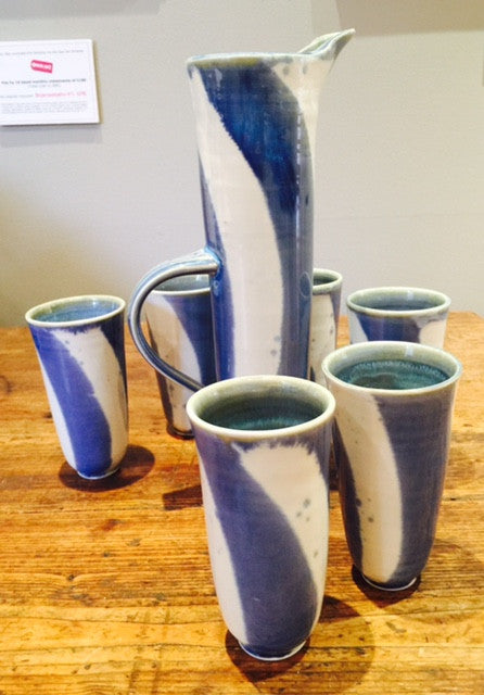 Blue Striped Jug Set