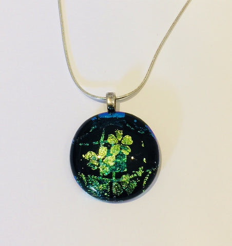 Black Pendant with Green Flowers (small)