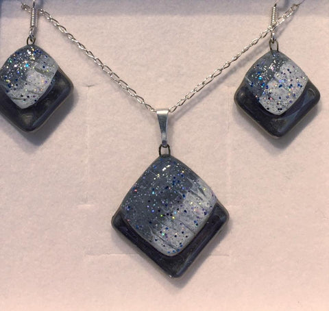 Grey Frosted Square Pendant & Earrings Set