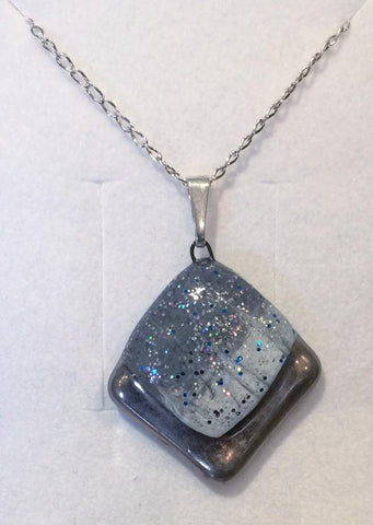 Grey Frosted Square Pendant