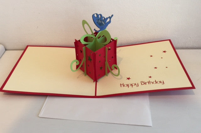 Happy Birthday Card (Red Present with Butterfly)