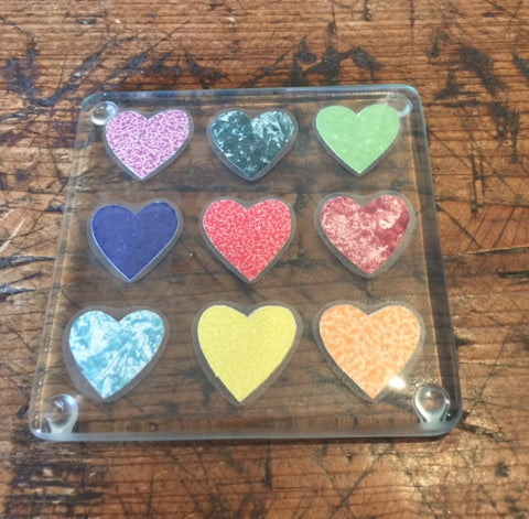 Hearts Glass Coaster 4